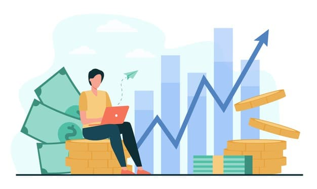 investor-with-laptop-monitoring-growth-dividends-trader-sitting-stack-money-investing-capital-analyzing-profit-graphs-vector-illustration-finance-stock-trading-investment_74855-8432