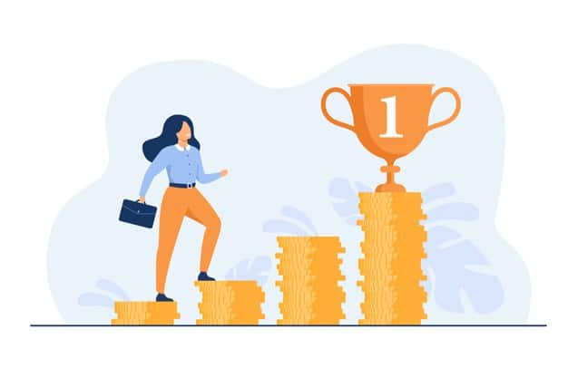 successful-woman-climbing-stairs-from-stacks-coins-flat-illustration_74855-11077